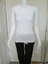 DOROTHY PERKINS - WHITE STRAPLESS, ELASTIC OVER THE BUST, T-SHIRT/ TOP SIZE 8