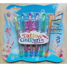 6pcs/Set Students Kids Child Temporary Tattoo Gel Pens Flash Body Paint +Stencil