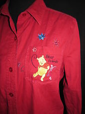 Disney Pooh Piglet Embroidered Button Front Shirt Best Friends Size Large Red