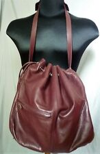 CLUB MONACO BURGUNDY LEATHER BUCKET DRAWSTRING BAG