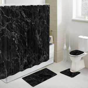 Black marble with white cracks Shower Curtain Toilet Cover Rug Mat Contour Rug