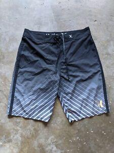 Hurley Phantom Mens 30 Black Board Shorts Unlined Drawstring Polyester Blend