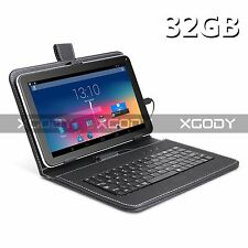 """32GB 9"""" Quad Core Android 4.4 Capacitive Screen Tablet PC W/ Keyboard Case WIFI"""