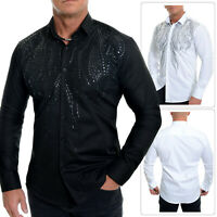 Men's Elegant Dress Shirt Sequins Party Suit Cotton White Black Slim Fit Party