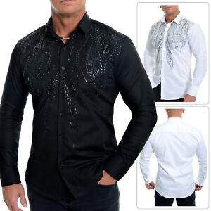 Men's Elegant Dress Shirt Casual or Formal Sequins Cotton White Black Slim Fit