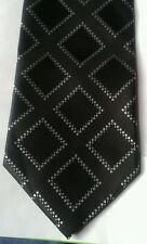 Cedarwood state black polyester tie with white and black squares