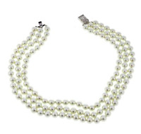 """KJL by Kenneth Jay Lane """"Rose Garden"""" Simulated Pearl 3-Row Necklace HSN"""