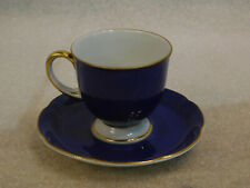Royal Bayreuth Demitasse Cup & Saucer c1945-49 Rose Ocean Blue