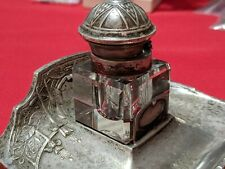Antique Quality Pre-WWII Square Crystal Inkwell w Sterling Silver Top Mammogram
