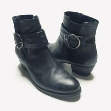 Paul Green Size US 8 5.5 Leather Ankle Boots Belted Adj Buckle Side Zip Moto