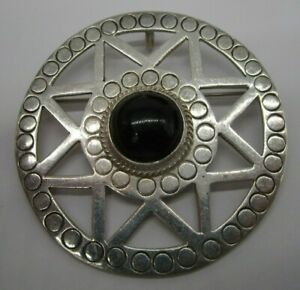 VINTAGE STERLING SILVER LARGE BROOCH PIN OR PENDANT CHARM TAXCO BLACK ONYX