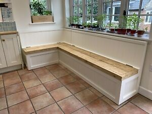 Modern White  banquette seating L Shape Wooden Tops