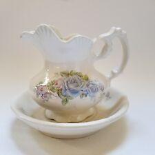 "Vintage Arnel's Small Porcelain Pitcher and Bowl Blue Roses 5 3/4"""