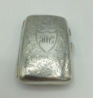 Antique Fine Silver Edwardian Cigarette Case Samuel M Levi Birmingham 1910