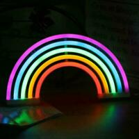 Colourful Rainbow Neon Sign LED Night Light Wall Lamp Charger USB For Kids L7D4
