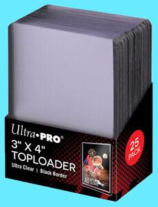 25 Ultra Pro 3x4 BLACK BORDER TOPLOADERS Standard Size Trading Card Rigid Sports
