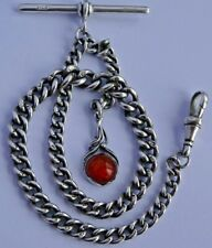 Stunning antique solid silver pocket watch albert chain with silver & amber fob