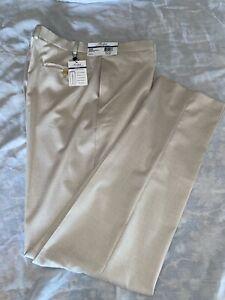 NWT's Ralph Lauren Slim Fit Flat Front Tan Stretch Waistband Dress Pants 38 X 34