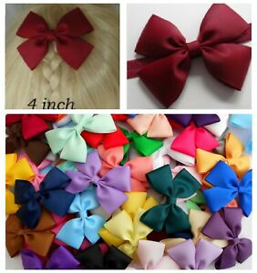 Double Bow Hair CLIP or Baby HEADBAND 4 inch (10cm) School uniform outfit party