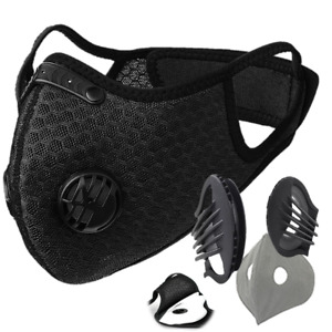 Cycling Riding Reusable Dust Face Mask with Breathing Valve PM2.5 Carbon Filter