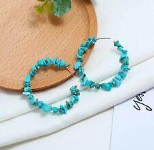 Turquoise Bead Gem Stone Hoop Earrings Hoops Other Bloggers Stories Mango...