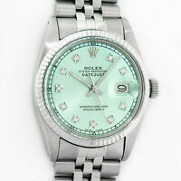 Rolex Mens Datejust Watch Oyster Perpetual Steel - White Gold Blue Diamond Dial
