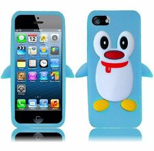 Apple iPhone 5 5S SE Rubber SILICONE Soft Gel Skin Case Cover Penguin Baby Blue