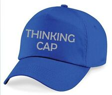 THINKING CAP Printed Baseball Hat Royal Blue Funny Joke Geeky Nerdy Grey Print