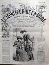 LE MONITEUR DE LA MODE 1891 N 16 TOILETTES DE COURSES. DESSIN DE G. GONIN