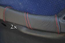 Se adapta a Fiat Stilo Cuero 2x Manija De Puerta cubre Rojo Stitch