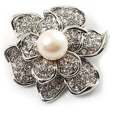 Vintage Silver & White Pearl Flower Diamante Corsage Wedding Brooch Pin BR179