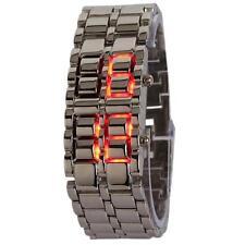 Fashion Elegant Iron Metal Red Digital Display LED Steel Band Wrist Watch Mens