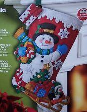 "Bucilla ""SNOWMAN WITH PRESENTS"" Felt Christmas Stocking Kit OOP Penguin 86410"