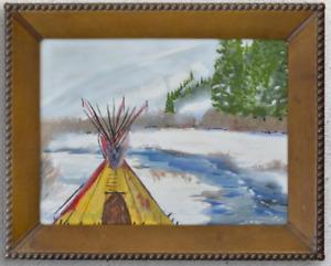 Ron Turpin Original Acrylic Painting Tee Pee in Snow on River