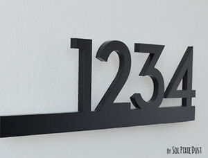 Modern House Numbers Black Acrylic - Contemporary Home Address - Sign Plaque