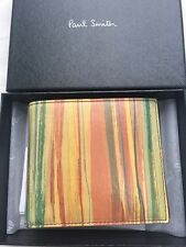 Paul Smith Men's Bifold Coin Mul Wallet Paistr Leather Made In Italy With Box