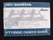 GENUINE 1985 HONDA 1100 SHADOW VT1100C MOTORCYCLE OPERATORS MANUAL VERY GOOD