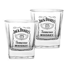 JACK DANIELS Whiskey Spirit Drink Glasses Set of 2 Man Cave Bar Fathers Gift