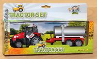 Traktor rot mit Faßwagen ca. 27cm Schlepper Kids Globe Farming NEU/OVP
