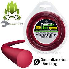 3mm Strimmer Trimmer Brush Cutter Line Round Donut 3.0mm Spool Refil 15m Long