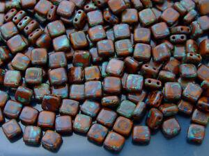 25pcs CzechMates Tile Beads Picasso Umber