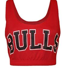 Womens Gym Vest Bra CropTop Sleeveless Bulls Basketball Ladies M/L