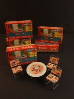 All Original Table Set Litho Tin Toy Table 3 Chairs + Box Japan 1950 (#1)