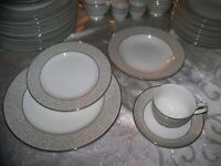 5 pc PLACE SET Mikasa Parchment  Platinum Gray NEW most with stickers (Thailand)