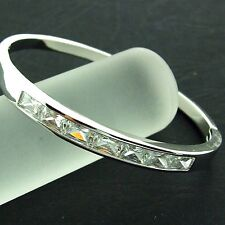 BANGLE CUFF HINGED REAL 18K WHITE G/F GOLD SOLID GENUINE DIAMOND SIMULATED STYLE
