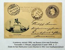 ARGENTINA 1898 SAN MARTIN STATUE 6c UPU POSTAL CARD FROM BUENOS AIRES TO GERMANY