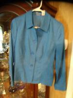 NEW Kim Rogers Signature Island Blue Linen Blazer Jacket Womens Petite 10P NWT