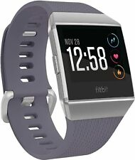 Fitbit Ionic Smartwatch Blue Gray Band,Case Siver Gray Size L (Large) NEW