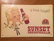 Tin Sign Vintage Sunset Sarsaparilla A Fresh Delight! Fallout