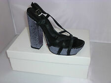Mollini Heels Style Yelp in Black Satin/Pewter Glitter size 38 NEW- W1-088